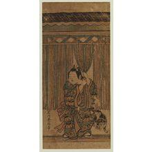 石川豊信: Child and Dog with Rope Curtain - ボストン美術館
