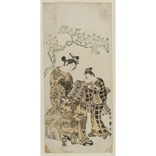 石川豊信: Actor Sanogawa Ichimatsu as a Courtesan Looking at Calender, with an Unidentified Actor (?) as a Kamuro - ボストン美術館