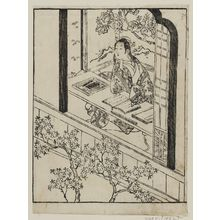 Ishikawa Toyonobu: A poetess looks out the window - Museum of Fine Arts
