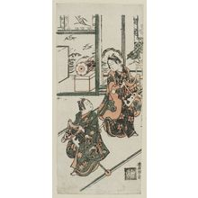 鳥居清廣: Two Children Playing with Hobbyhorses - ボストン美術館