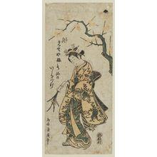 Torii Kiyohiro: Young woman holding flowers - Museum of Fine Arts