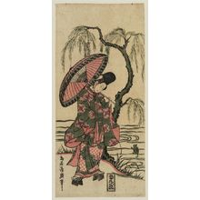 鳥居清廣: Young Woman Dressed as Ono no Tôfû Watching a Frog - ボストン美術館