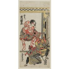 Torii Kiyomitsu: Actor Ichikawa Raizô as Yatahachi, with two other actors - Museum of Fine Arts
