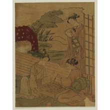 山本義信: Couple Playing Shôgi, Watched by Girl with Love Letter - ボストン美術館