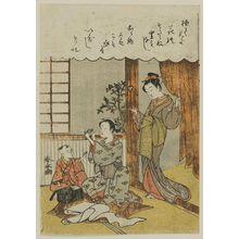Miyagawa Shunsui: Women Sewing and Playing with Baby - Museum of Fine Arts