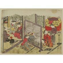 Suzuki Harunobu: The Cup of Sake before Bed (Toko-sakazuki), sheet 6 of the series Marriage in Brocade Prints, the Carriage of the Virtuous Woman (Konrei nishiki misao-guruma), known as the Marriage series - Museum of Fine Arts