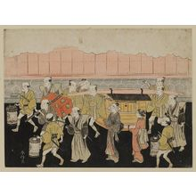 鈴木春信: The Bride Riding in the Palanquin (Koshi-iri), sheet 3 of the series Marriage in Brocade Prints, the Carriage of the Virtuous Woman (Konrei nishiki misao-guruma), known as the Marriage series - ボストン美術館