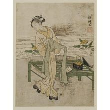Suzuki Harunobu: Young Woman Tying Her Obi beside a Bamboo Bench - Museum of Fine Arts