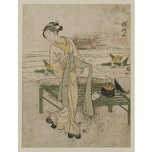 鈴木春信: Young Woman Tying Her Obi beside a Bamboo Bench - ボストン美術館