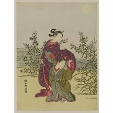 Suzuki Harunobu: Young Couple with Bush Clover; Parody of the Musashi Plain Episode of Tales of Ise - Museum of Fine Arts