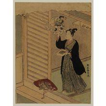 鈴木春信: Young Man Throwing Beans at Setsubun - ボストン美術館