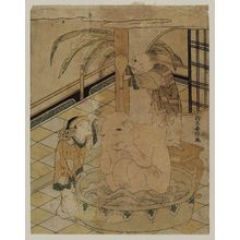 Suzuki Harunobu: Two Chinese Boys Bathing Hotei - Museum of Fine Arts