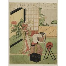 鈴木春信: Poem by Ôtomo no Kuronushi, from the series Fashionable Six Poetic Immortals (Fûryû Rokkasen) - ボストン美術館