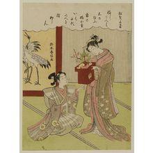 鈴木春信: The Pine Tree Is a Pledge of a Thousand Years (Matsu wa senzai no chigiri) - ボストン美術館