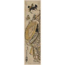 石川豊信: Woman with Doll and Straw Hat - ボストン美術館