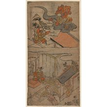 Torii Kiyomasu I: Watanabe no Tsuna Receives a Visit from His Aunt (below) and the Ibaraki Demon Recovers Its Arm (above), No. 2 from an untitled series of the adventures of Yorimitsu - Museum of Fine Arts