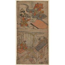 鳥居清倍: Watanabe no Tsuna Receives a Visit from His Aunt (below) and the Ibaraki Demon Recovers Its Arm (above), No. 2 from an untitled series of the adventures of Yorimitsu - ボストン美術館