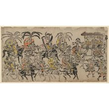 Hishikawa Moronobu: A Procession of Warriors on Horseback Parading Before Raiko - Museum of Fine Arts