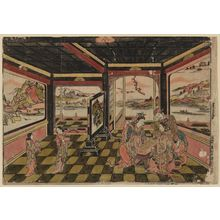 Okumura Masanobu: Chinese Figures in a Pavilion Playing Sugoroku - Museum of Fine Arts