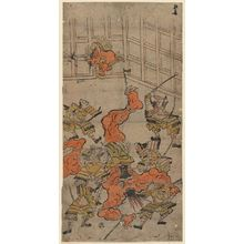 鳥居清倍: Yorimitsu and His Retainers Killing the Shutendôji, No. 6 from an untitled series of the adventures of Yorimitsu - ボストン美術館
