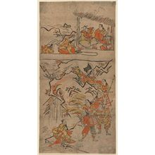 鳥居清倍: Yorimitsu and His Retainers Meet the God of Sumiyoshi (above) and a Woman Washing Bloodstained Clothes (below), No. 3 from an untitled series of the adventures of Yorimitsu - ボストン美術館
