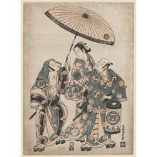 Torii Kiyonobu II: Actors Sanokawa Ichimatsu, Sawamura Sojuro II, and Fujikawa Heikuro - Museum of Fine Arts