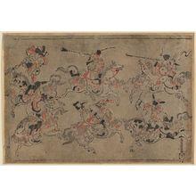 Torii Kiyomasu I: Korean equestrian acrobats - Museum of Fine Arts