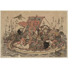 石川豊信: The Seven Gods of Good Fortune in the Treasure Boat - ボストン美術館
