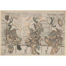 Ishikawa Toyonobu: Actors Nakamura Kumetarô (R), Nakamura Tomijûrô (C), and Sanogawa Ichimatsu I (L) - Museum of Fine Arts