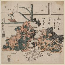 Ishikawa Toyonobu: Young Women Playing Karuta - Museum of Fine Arts