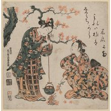 Ishikawa Toyonobu: Young Couple Burning Maple Leaves to Heat Sake - Museum of Fine Arts