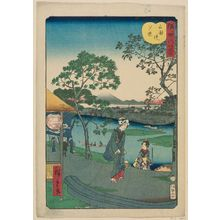 Utagawa Hiroshige II: Sunset Glow at Mimeguri Embankment (Mimegurizutsumi no sekishô), from the series Eight Views of the Sumida River (Sumidagawa hakkei) - Museum of Fine Arts