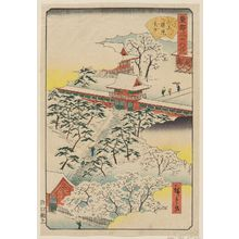 Utagawa Hiroshige II: Sannô Gongen Shrine in Snow (Sannô Gongen setchû), from the series Thirty-six Views of the Eastern Capital (Tôto sanjûrokkei) - Museum of Fine Arts