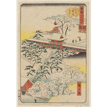 二歌川広重: Sannô Gongen Shrine in Snow (Sannô Gongen setchû), from the series Thirty-six Views of the Eastern Capital (Tôto sanjûrokkei) - ボストン美術館