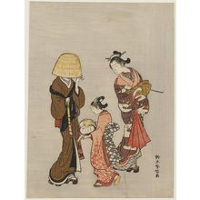 鈴木春信: Courtesan and Kamuro Looking at the Face of a Komusô Reflected in a Mirror - ボストン美術館