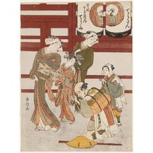 Suzuki Harunobu: Pilgrims Bowing to Courtesan Chôzan of the Chôjiya - Museum of Fine Arts