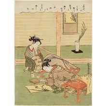 Suzuki Harunobu: Woman Painting Bamboo - Museum of Fine Arts
