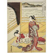 鈴木春信: Poem by Jakuren Hôshi, from an untitled series of Three Evening Poems (Sanseki) - ボストン美術館
