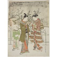 Suzuki Harunobu: Young Couple Lighting Pipes beside the Sleeping Dragon Plum Tree - Museum of Fine Arts