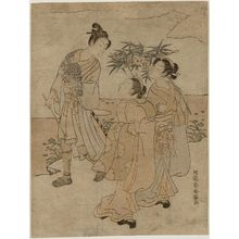 Isoda Koryusai: Young Man with a Falcon and Two Women with Tanabata Festival Decorations - Museum of Fine Arts