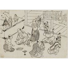 奥村政信: Scene in the Dressing Room of a Puppet Theater, table of contents for the series Famous Scenes from Japanese Puppet Plays (Yamato irotake) - ボストン美術館