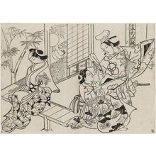 奥村政信: Narihira: The Mirror Scene (Narihira kagami no dan), from the series Famous Scenes from Japanese Puppet Plays (Yamato irotake) - ボストン美術館