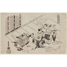 鳥居清倍: The Seven Herbs (Nanakusa): Actors Ichikawa Danjûrô II as Soga no Gorô, Ogawa Zengorô as Kudô Suketsune, and Tomizawa Hanzaburô as Asahina - ボストン美術館