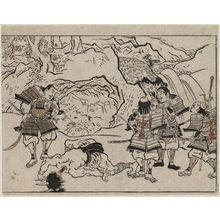 Hishikawa Moronobu: Yorimitsu and his Retainers Standing over a Decapitated Demon from the Series The Sake-drinking Boy (Shuten-doji) - Museum of Fine Arts