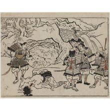 菱川師宣: Yorimitsu and his Retainers Standing over a Decapitated Demon from the Series The Sake-drinking Boy (Shuten-doji) - ボストン美術館