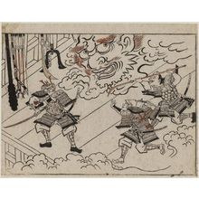 Hishikawa Moronobu: Yorimitsu and his Retainers Attack the Head of Shuten-doji from the Series The Sake-drinking Boy (Shuten-doji) - Museum of Fine Arts