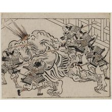 Hishikawa Moronobu: Yorimitsu and his Retainers Decapitate Shutendoji - Museum of Fine Arts