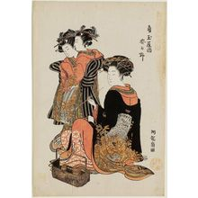 Isoda Koryusai: Kasugano of the Kado-Tamaya, from the series Models for Fashion: New Year Designs as Fresh as Young Leaves (Hinagata wakana no hatsu moyô) - Museum of Fine Arts