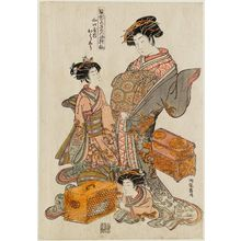 磯田湖龍齋: Ôshû of the Yamaguchiya, from the series Models for Fashion: New Year Designs as Fresh as Young Leaves (Hinagata wakana no hatsu moyô) - ボストン美術館