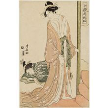 Torii Kiyonaga: Courtesan Going to Bed, from the series Ten Types of Beauties in Pictures (Jittai e-fûzoku) - Museum of Fine Arts